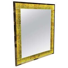 André Hayat Contemporary Lighted Mother-of-Pearl Yellow Glass Mirror