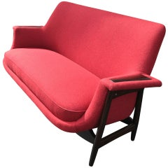 Theo Ruth 1950s Settee, Newly Covered