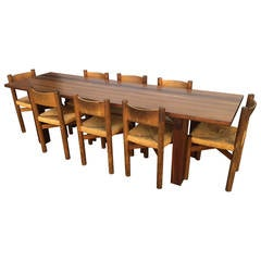 Charlotte Perriand Rosewood Table Ed. Sentou Signed and Eight Meribel Chairs