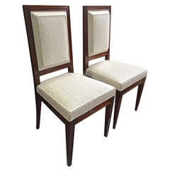 Jean Michel Frank Attributed Pair of Chairs Newly Reupholstered in Canvas Cloth