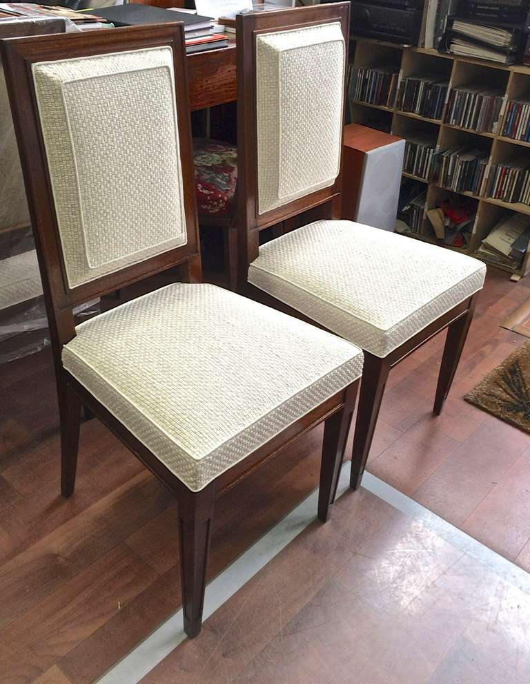Jean michel frank attributed pair of chairs newly for Reupholstered chairs for sale