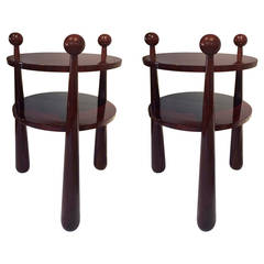 "Jean Royere Genuine and Documented Pair of Mahogany Side Tables, Model ""Quille"""