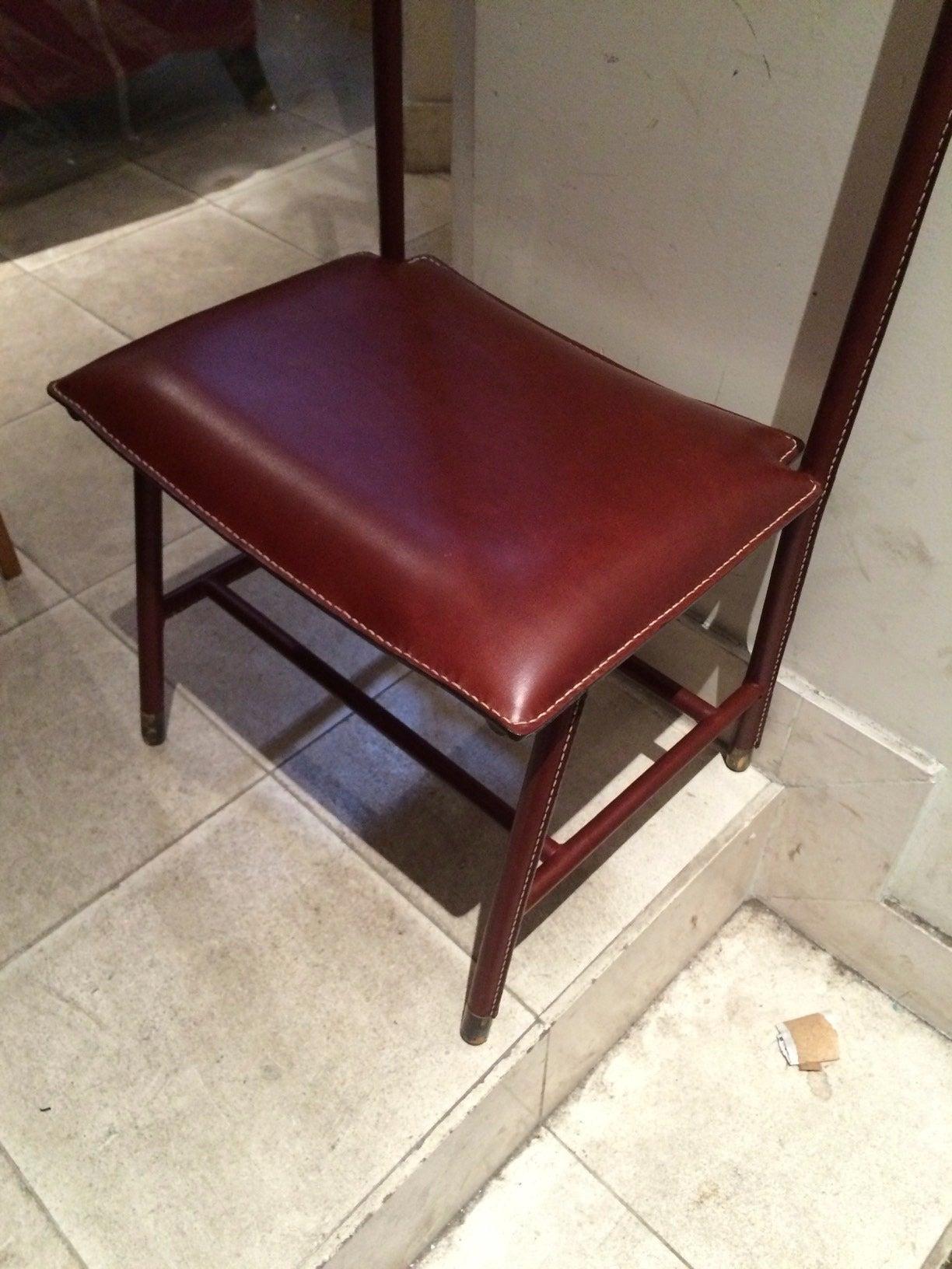 "Jacques adnet red hermès stitched leather ""valet de nuit"" for sale ..."