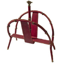 Jacques Adnet Hand-Stitched Leather Magazine Rack in Red Hermès Color