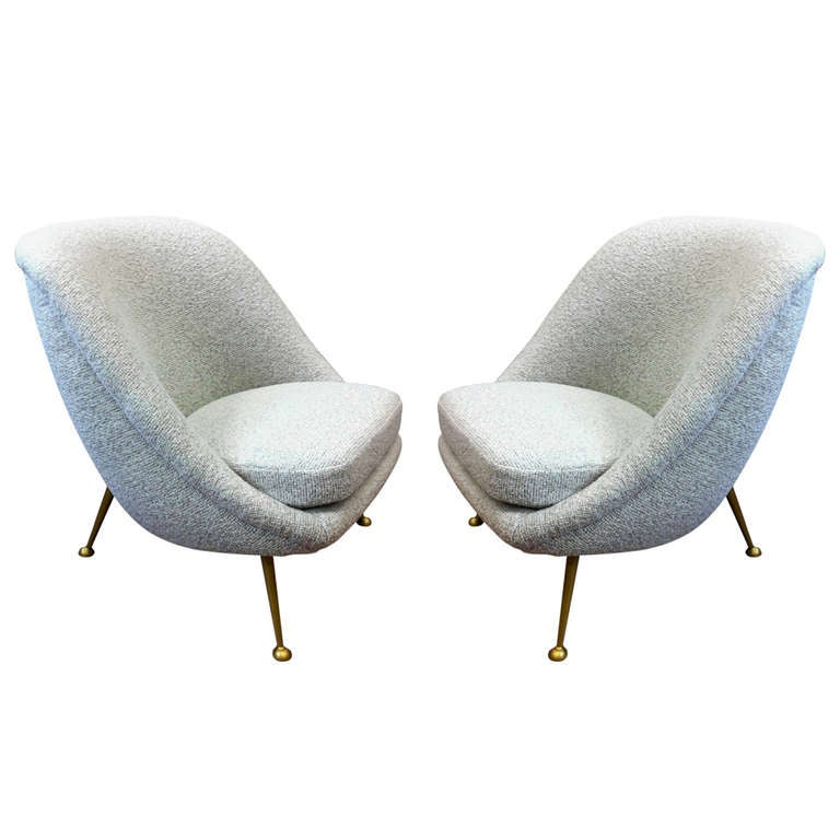Exceptionally fortable Pair of Lounge Chairs Newly Covered in Maharam Bou