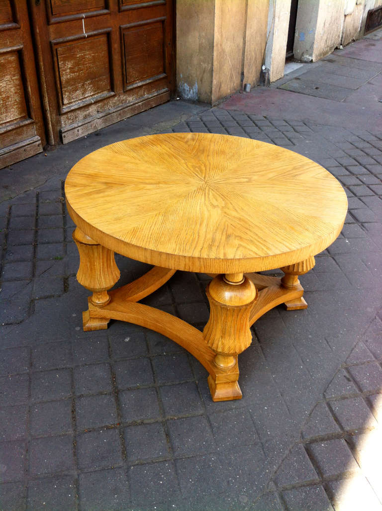 Neoclassic Sturdy Oak Coffee Table With Beautiful Carving Details 1940s At 1stdibs