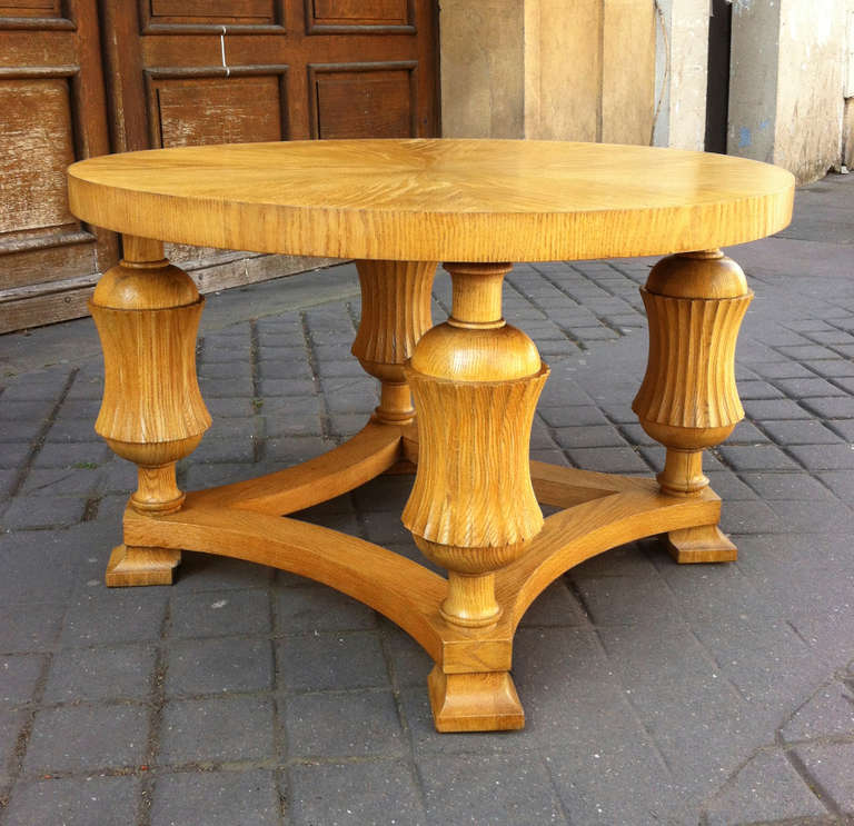 Neoclassic Sturdy Oak Coffee Table With Carving Details 1940s For Sale At 1stdibs