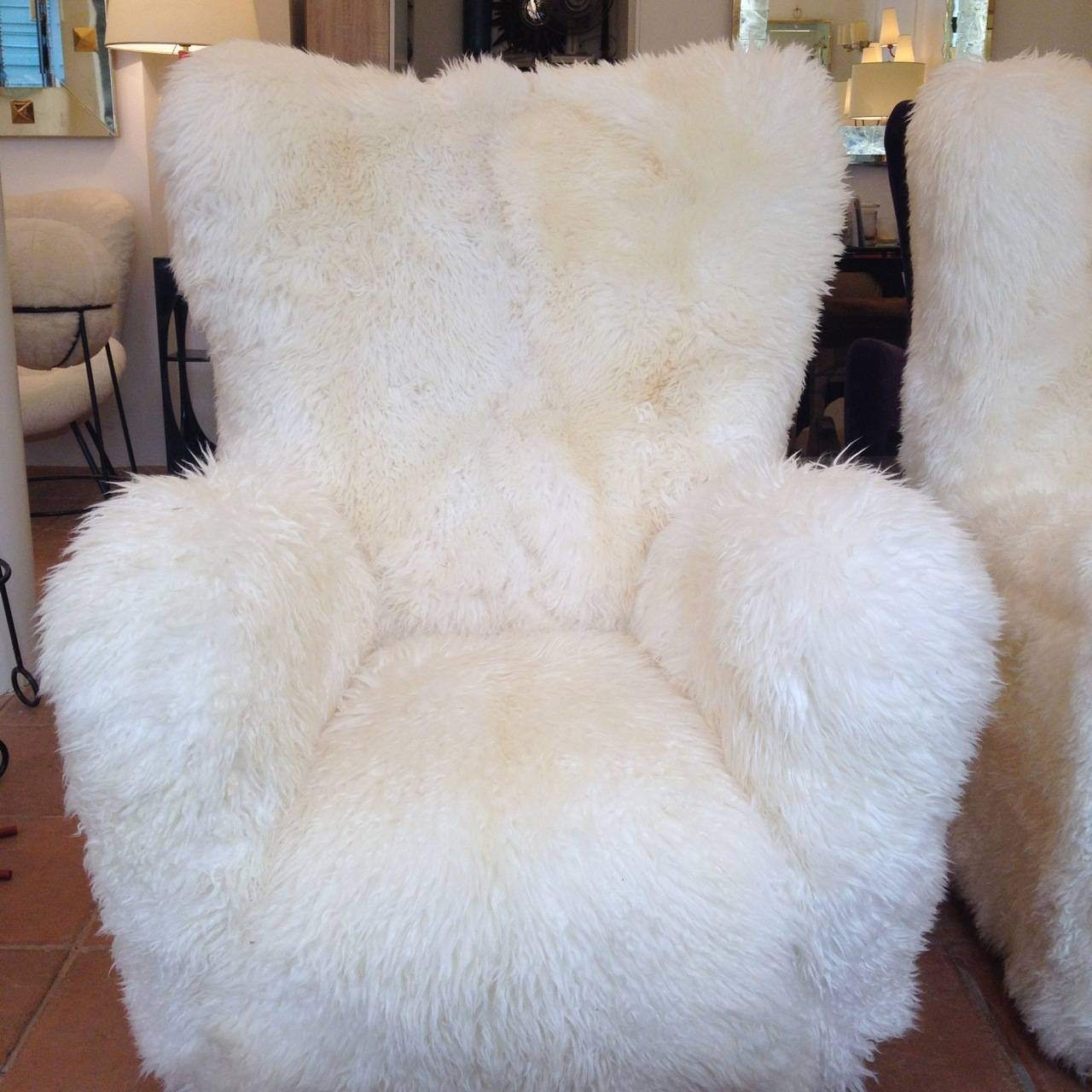 Fritz Hansen Large Pair Of Teddy Bear Club Chairs In Long