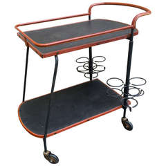 Jacques Adnet 1950s Black and Brown Hand-Stitched Leather Bar Rolling Table