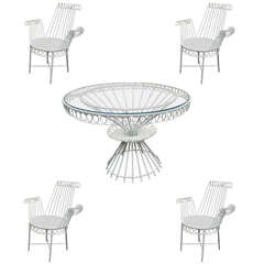 "Mathieu Matégot Model ""Cap d'ail"" White Dining Set with Table and Four Armchairs"