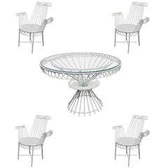 "Mathieu Matégot Model ""Cap d'ail"" White Dining Set Table and Four Armchairs"