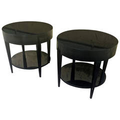 Black Lacquered Pair of Two-Tier Side Tables