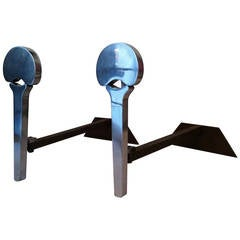 Francois Monnet 1970s Pair of Brushed Steel Andirons