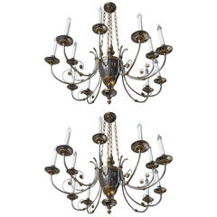 Maison Jansen 1940s Pair of Chandeliers in Bronze and Polished Iron