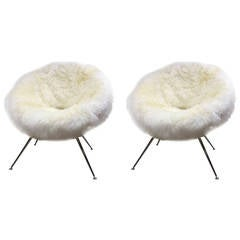 Flying Saucer Style Pair of Chairs Covered in Genuine Long Haired Sheep Skin Fur