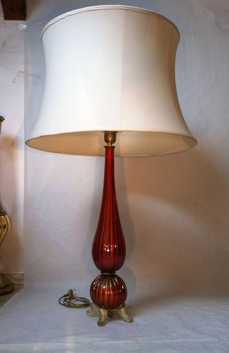 murano mercury pair of red lamps for sale at 1stdibs. Black Bedroom Furniture Sets. Home Design Ideas