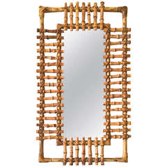 French Riviera 1950s Very Pure Design Bamboo and Rattan Mirror