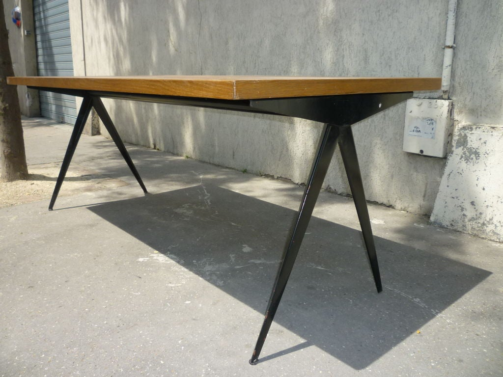 Oak And Black Iron Dining Table By Jean Prouve At 1stdibs
