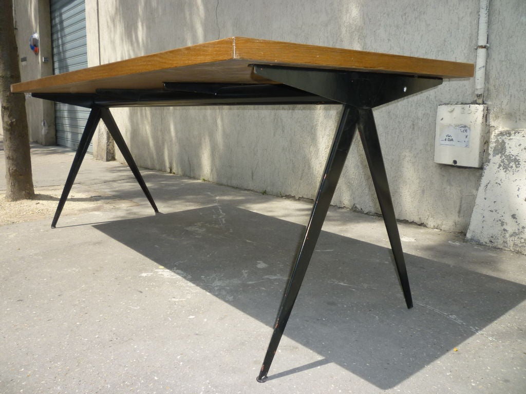 oak and black iron dining table by jean prouve at 1stdibs. Black Bedroom Furniture Sets. Home Design Ideas