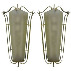 Pair of Sconces by Rene Prou in Brass and Bombed Frosted Glass