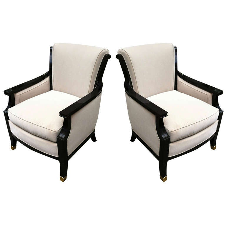 Maison Jansen Pair Of Chic 1940s Chairs Black Lacquered And Newly Upholstere