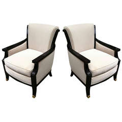 Maison Jansen Pair of Chic 1940s Chairs, Black Lacquered and Newly Upholstered