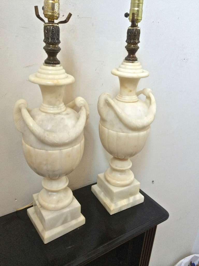 Awesome Pair Of Refined Marble Carved Urn Pair Of Lamps