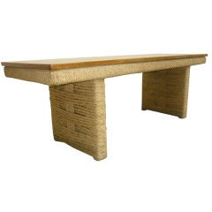 Audoux Minet Long Coffee Table in Perfect Condition of Rope