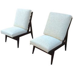 Pair of French 1950s Slipper Chairs with Pure Design, Newly Recovered in Maharam