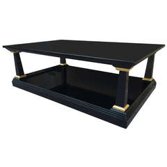 Maison Jansen 1940s Large Two-Tier Black Lacquered Coffee Table