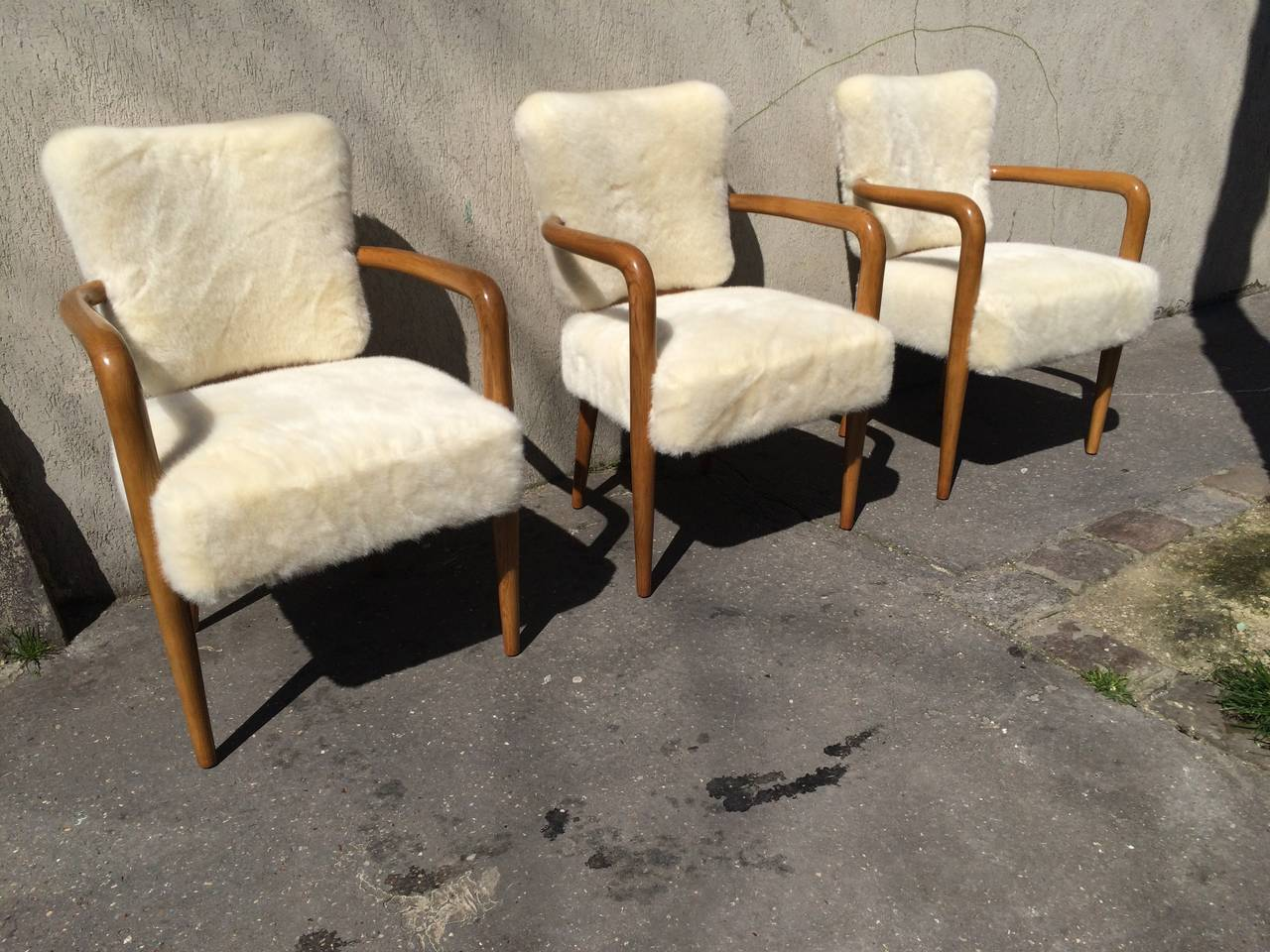 Renou Et Genissetrare Set Of Three Desk Chairs Newly