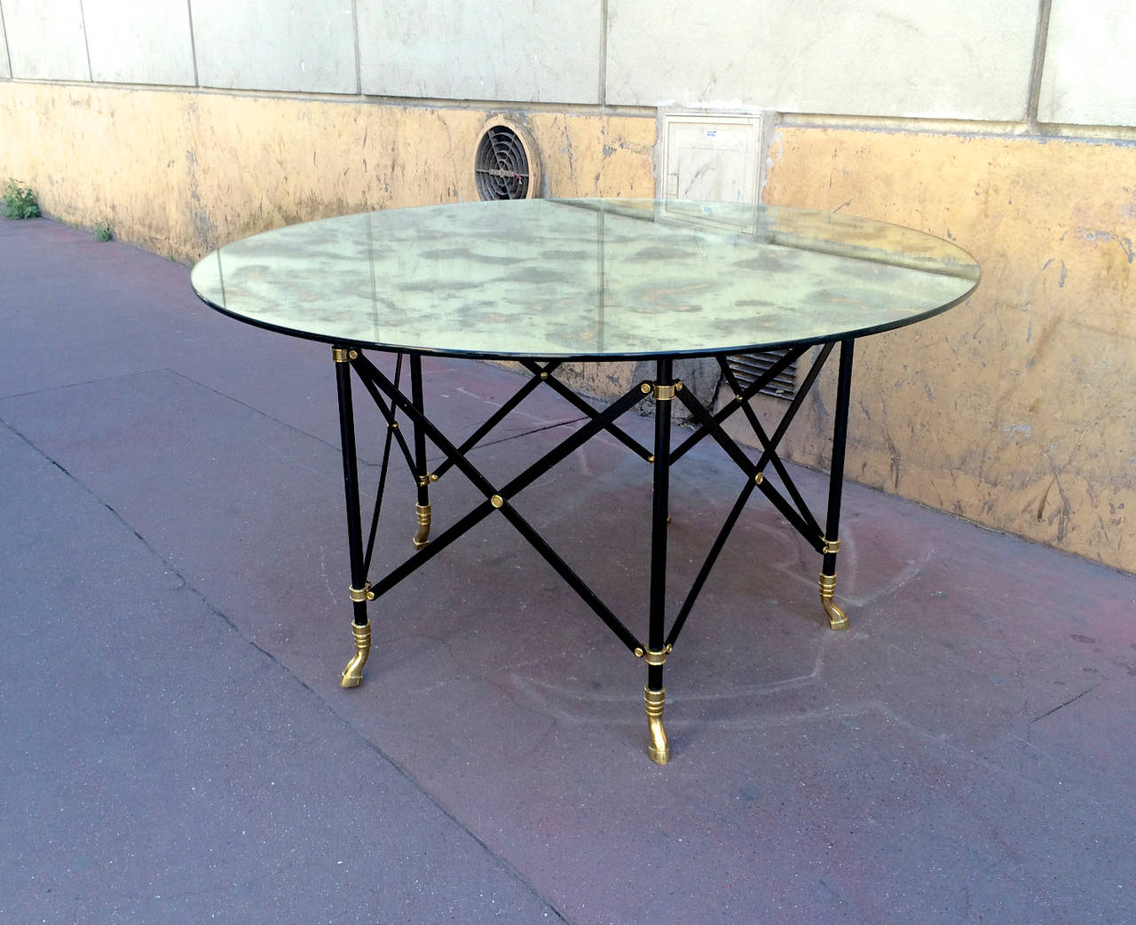 Maison Jansen Round Dining Table With A Thick Eglomized Mirror Top For