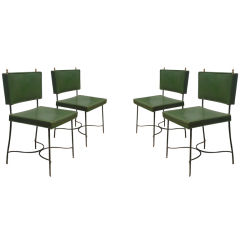 Set of Four Green Leather and Wrought Iron Chairs by Maison Jansen