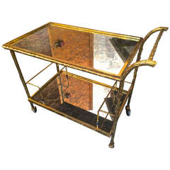 Maison Bagues Palm Tree Gold and Bronze, Two-Tier Cocktail Rolling Cart