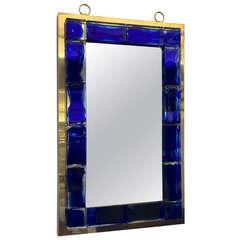 Andre Hayat Contemporary Mirror, Deep Blue Bricks with Gold Bronze Frame