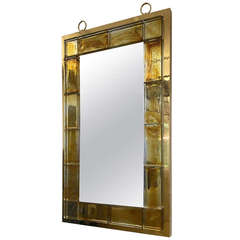 Andre Hayat Contemporary Mirror in Honey Gold Bricks with Gold Bronze Frame