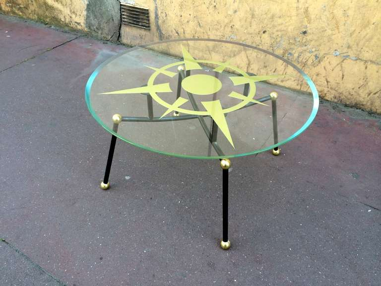 Spectacular Atomic Coffee Table With A Compass Rose Engraved Glass Top For Sale At 1stdibs