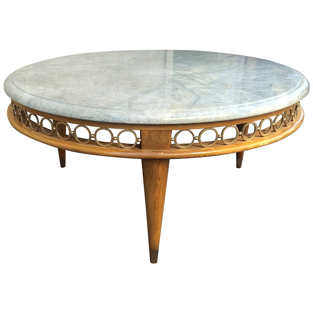 White Marble Coffee Table Gold Legs: Jean Royère Ash Tree Tri-Leg Coffee Table With Marble Top