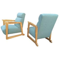 Charles Ramos Rare Sycamore Pair of Club Chairs Newly Covered in Kvadrat Tweed
