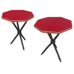 Pair of Neoclassic Side Tables with Red Velvet Top, 1940s