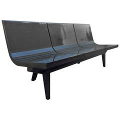 French Long 1950s Slipper Three-Seat Bench in Black Lacquered Wood