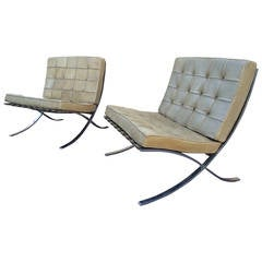 "Pair of Genuine Mies van ser Rohe ""Barcelona"" Chairs in Vintage Leather"