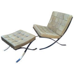 "Mies van der Rohe Genuine ""Barcelona"" Chairs and Ottoman in Vintage Leather"
