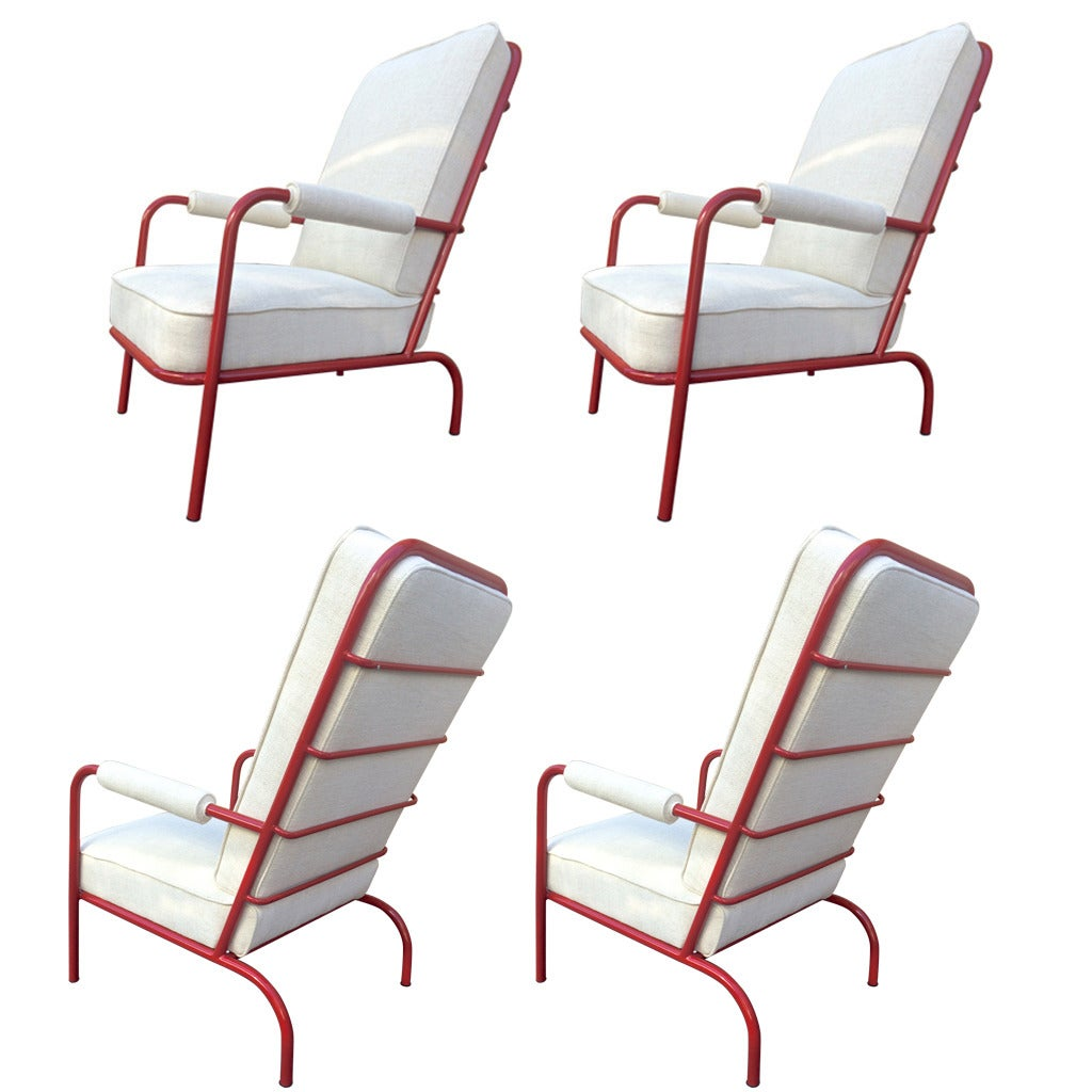 Set Of French 1950s Four Comfortable Lounge Chairs In The