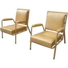 Rare Pair of Hand Stitched Leather Arm Chairs by Jules Leleu