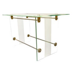 Fontana Arte Vintage Coffee Table in Engraved Glass and Bronze