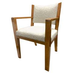 Jean Royère Desk Armchair Newly Reupholsterd in Maharam Bouclé