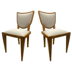 Jean Royère Documented Pair of Chairs, Newly Upholstered in Maharam Bouclé