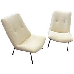 Pierre Guariche Pair of Armchairs, Model SK660, Newly Covered in Chevron Alpaca