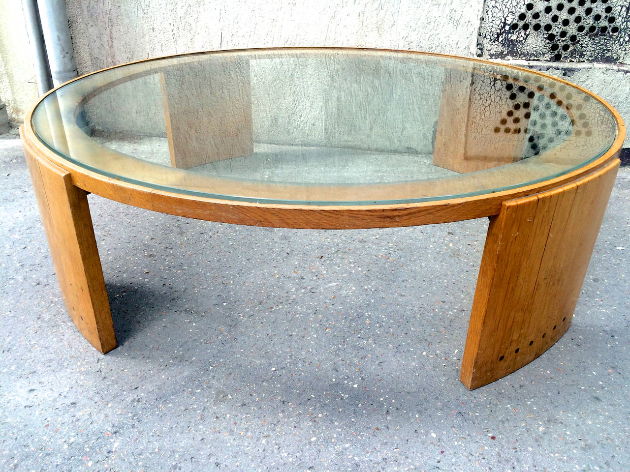 Jacques adnet very large round coffee table in oak and glass top image 3 Large glass coffee table